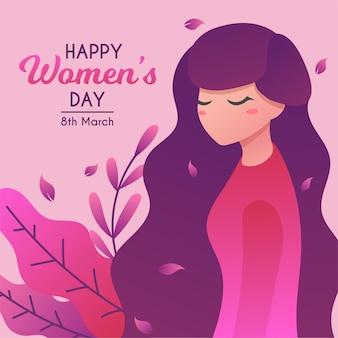 8 de marzo día internacional de la mujer con ilustración de mujer de pelo largo