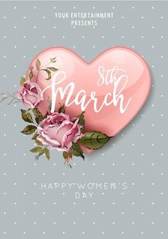8 de marzo día de la mujer corazón y ramo de flores