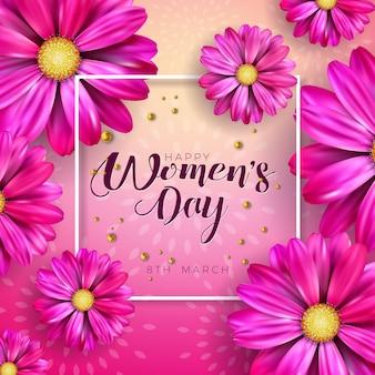 8 de marzo. diseño de celebración del día de la mujer con flor y letra de tipografía