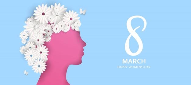 8 de marzo. feliz día de la madre. corte de papel mariposa con fondo de vacaciones de flores