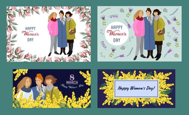 8 de marzo y feliz día de la mujer. establecer plantillas para tarjeta, póster, folleto