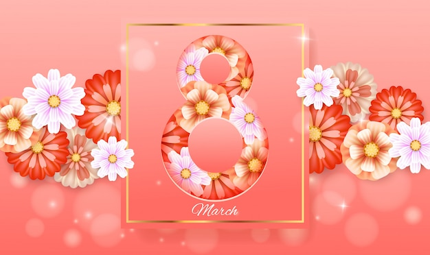 8 de marzo con marco. tarjeta del día de la mujer