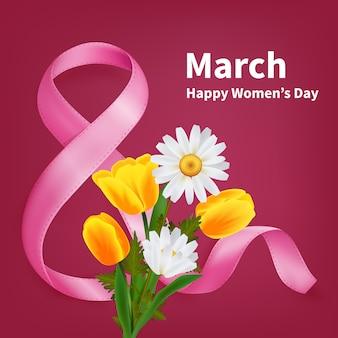8 de marzo, tarjeta de felicitación del día de la mujer feliz