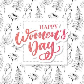 8 de marzo. tarjeta de felicitación del día de la mujer feliz