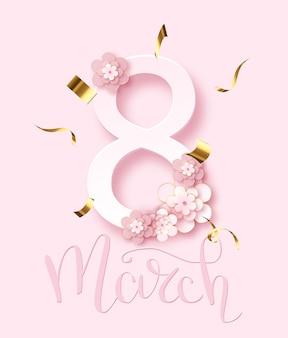 8 de marzo. tarjeta de felicitación del día de la mujer y letras de texto de lujo. letras de caligrafía. ilustración vectorial.