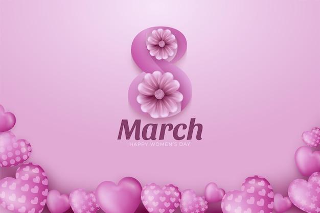 8 de marzo. tarjeta de felicitación floral del día de la mujer feliz.
