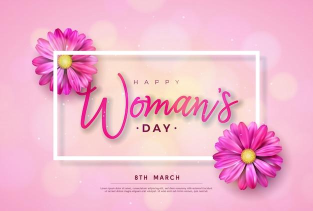 8 de marzo. tarjeta de felicitación floral feliz día de la mujer. ilustración de vacaciones internacionales con diseño de flores sobre fondo rosa.