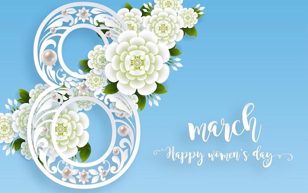 8 de marzo. con tarjeta de felicitación realista de flores hermosas. día internacional de la mujer feliz.
