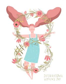 8 de marzo tarjeta de flores para niñas del día de la mujer