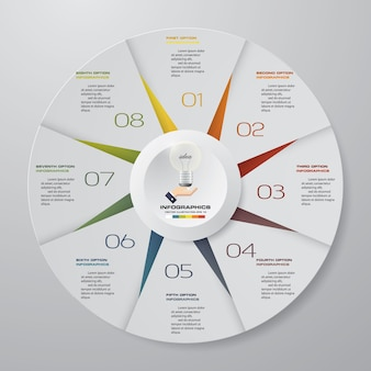 8 pasos ciclo infografía elementos.