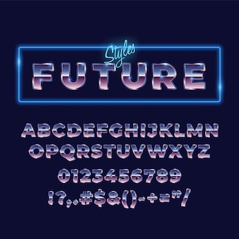 80 tipografía de fuente de alfabeto metálico retro