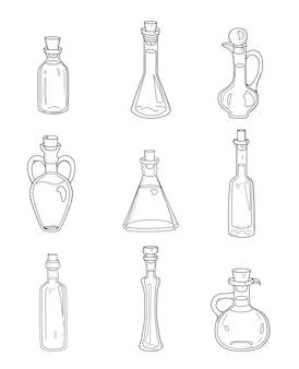 9 botellas de doodle aislado. conjunto incompleto dibujado a mano