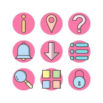 9 iconos de elementos básicos