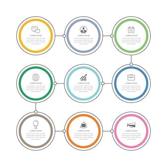9 infografías de datos plantilla de línea de tiempo de círculo de línea delgada que se puede utilizar para el diseño de flujo de trabajo de infografías