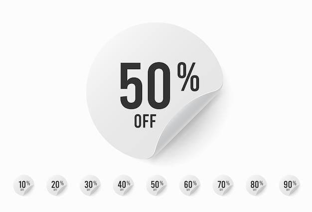 Hasta un 90 por ciento de descuento en el juego de pegatinas. etiqueta circular