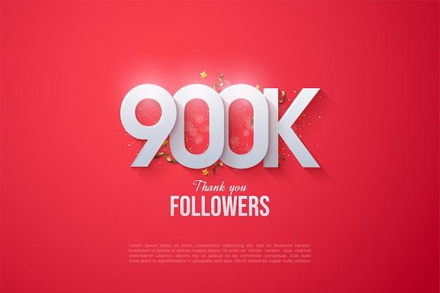 900 mil seguidores con números apilados
