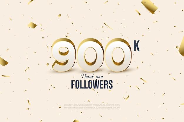 900 mil seguidores con números dispersos y lámina de oro