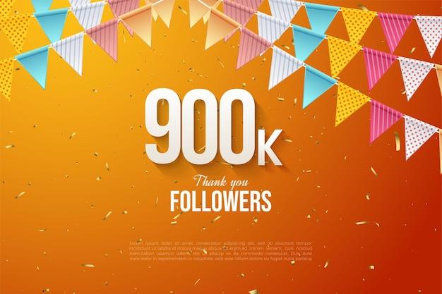 900k seguidores con coloridos números y banderas.