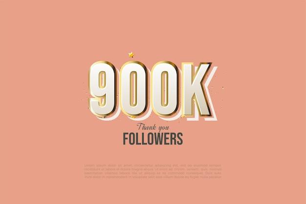 900k seguidores con diseño moderno de números