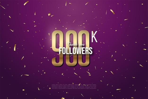 900k seguidores con una figura dorada plana