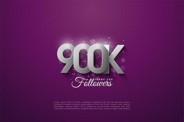 900k seguidores con hermosos números plateados