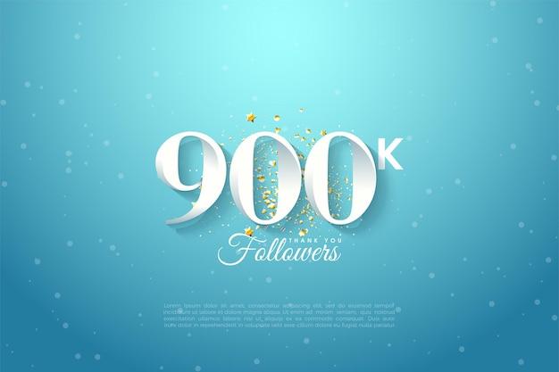 900k seguidores con ilustración de fondo de cielo azul