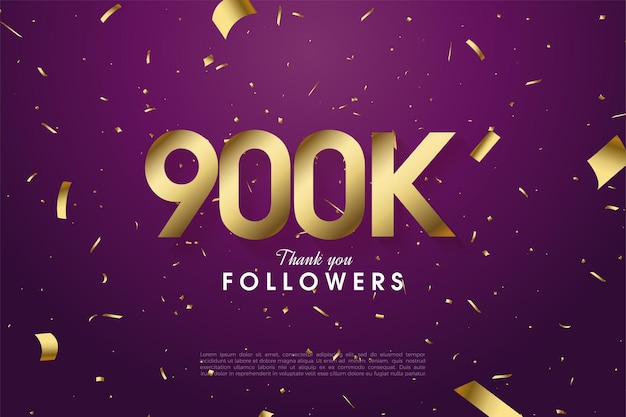 900k seguidores con ilustración de números dorados sobre fondo morado