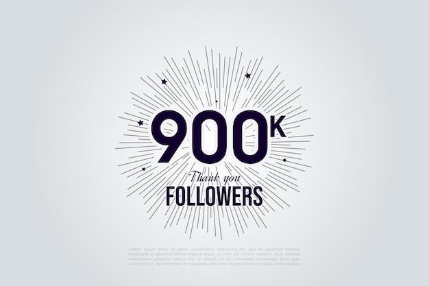900k seguidores con números en blanco y negro