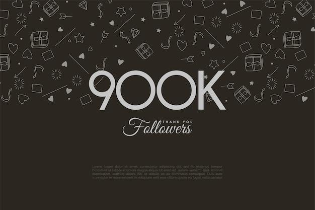 900k seguidores con números blancos en la oscuridad.