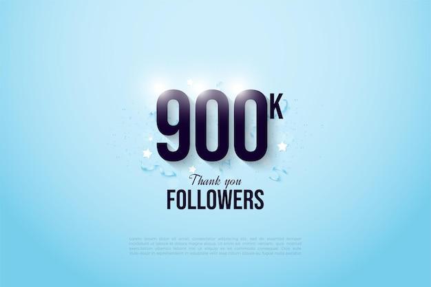 900k seguidores con números brillantes en fondo azul