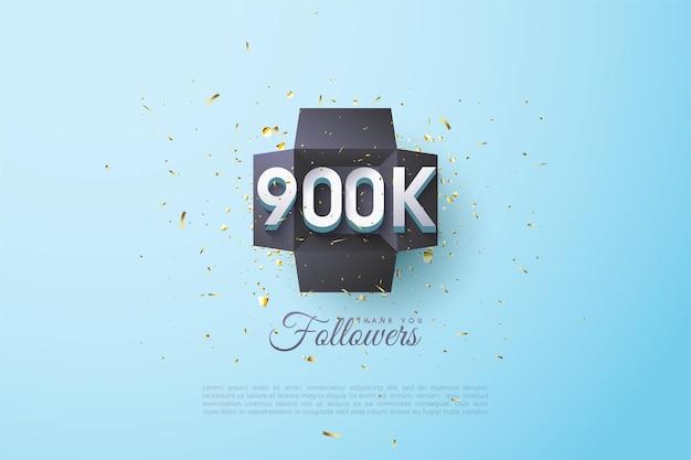 900k seguidores con números en el centro de la caja regalo