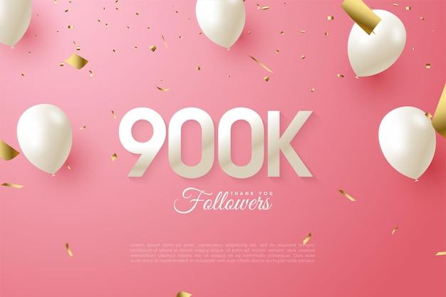 900k seguidores con números y globos.