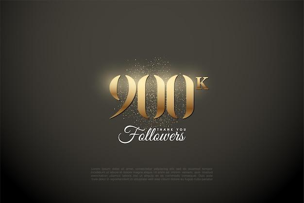 900k seguidores con números y puntos dorados.
