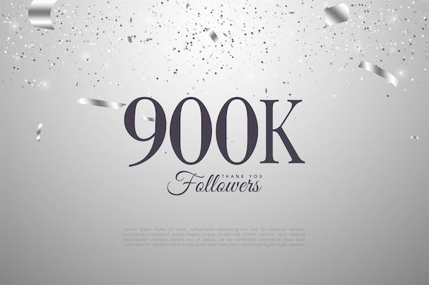 900k seguidores con números sobre fondo plateado