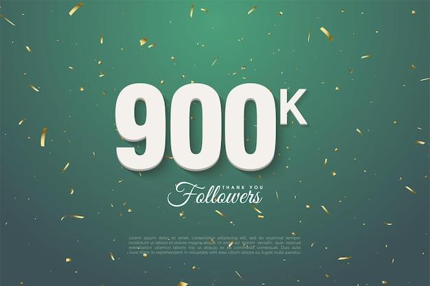 900k seguidores con números sobre fondo verde hoja oscura