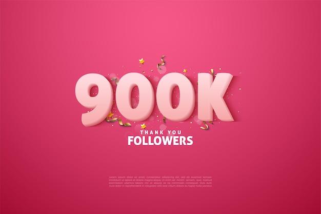 900k seguidores con suaves números blancos sobre fondo rosa