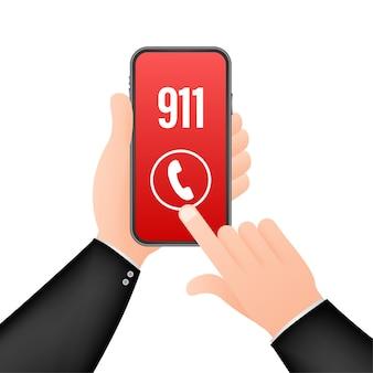 911 smartphone en ilustración de estilo plano
