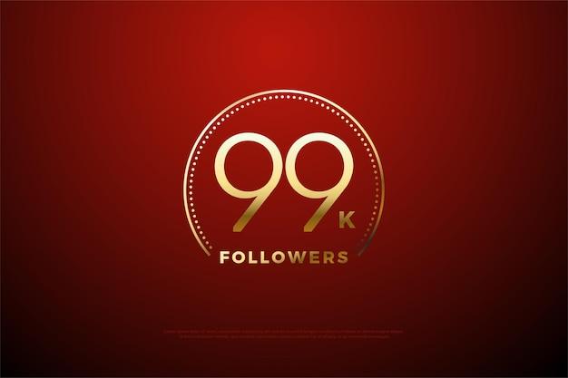 99 mil seguidores con franjas doradas y puntos que rodean los números
