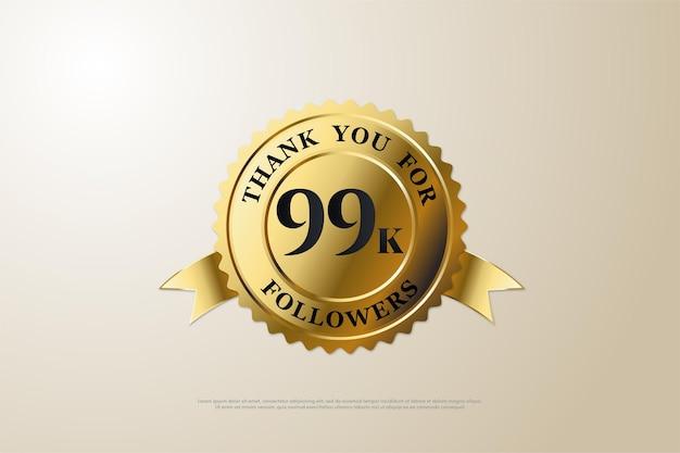 99k seguidores con un número en el medio de la medalla de oro