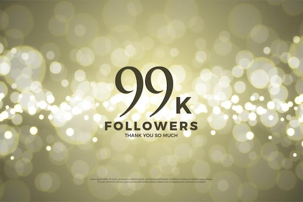 99k seguidores sobre fondo de papel dorado