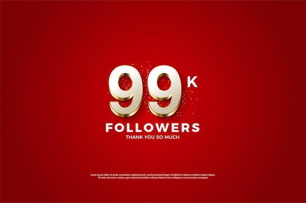 99k seguidores con superposición de números dorados de lujo