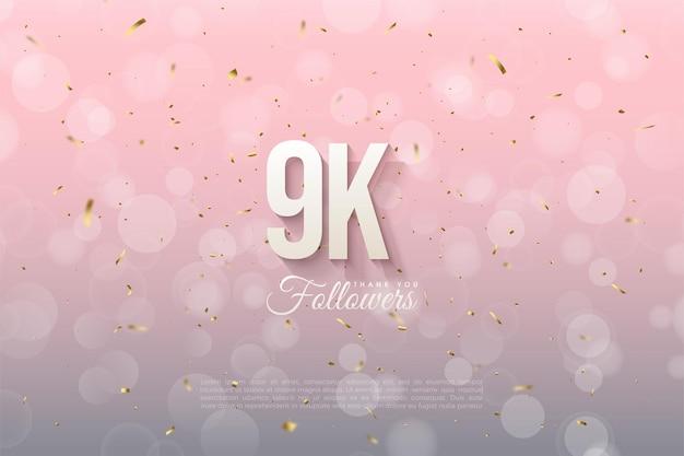 9k seguidores con números en relieve y sombreados