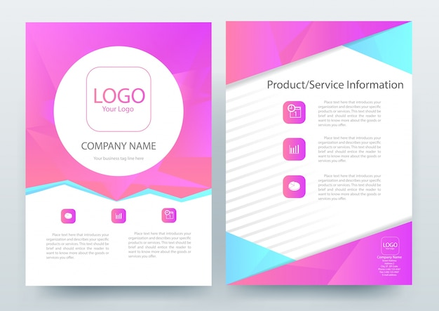 A4 folleto plantilla de diseño con magenta polygon