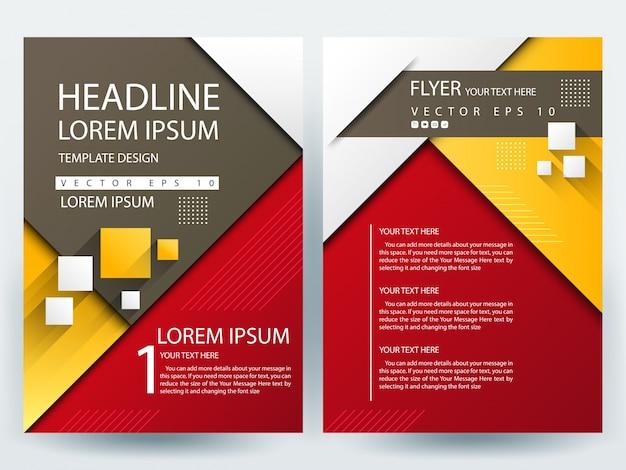 A4 folleto plantilla de diseño con rojo, amarillo y marrón geométrico