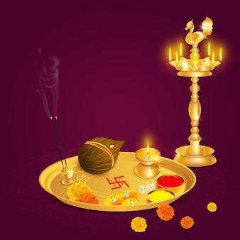 Aarti thali indio con elementos de diya y puja, diwali, rakhi, ganesh, festival navratri