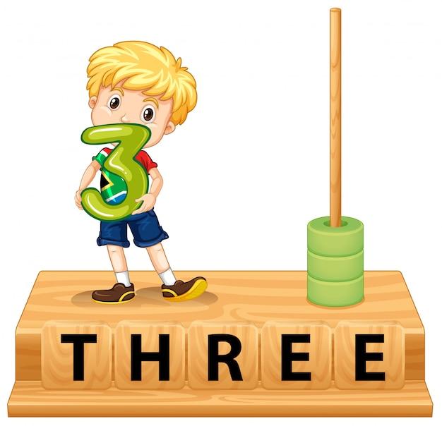 Ábaco de matemáticas número tres