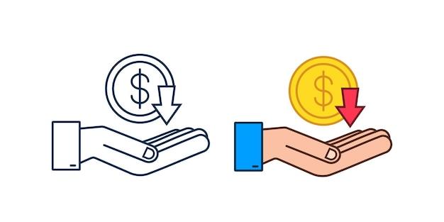 Abajo signo de dólar en manos sobre fondo blanco. ilustración de stock vectorial.