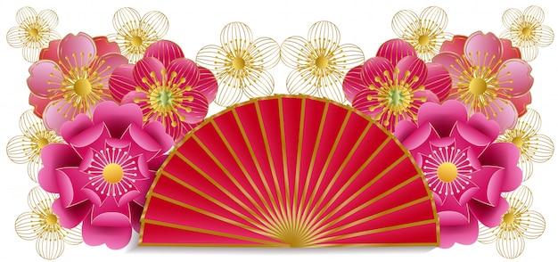 Abanico y corte de papel en flor de cerezo.