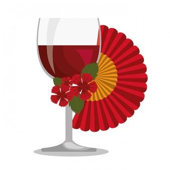 Abanico español con copa de vino
