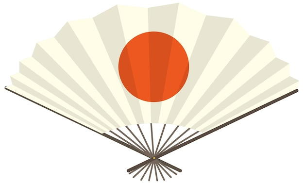 Abanico plegable japonés o abanico de mano con el sol rojo impreso